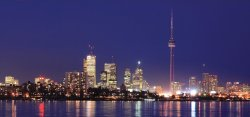 Click to see the Toronto Skyline at night as seen from Toronto Waterfront Condos location