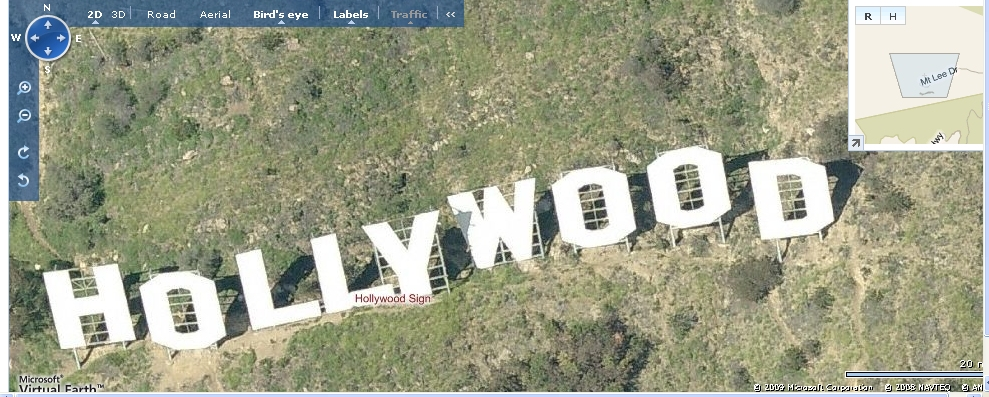 overhead view of the Hollywood sign from LiveSearch in March of 2009