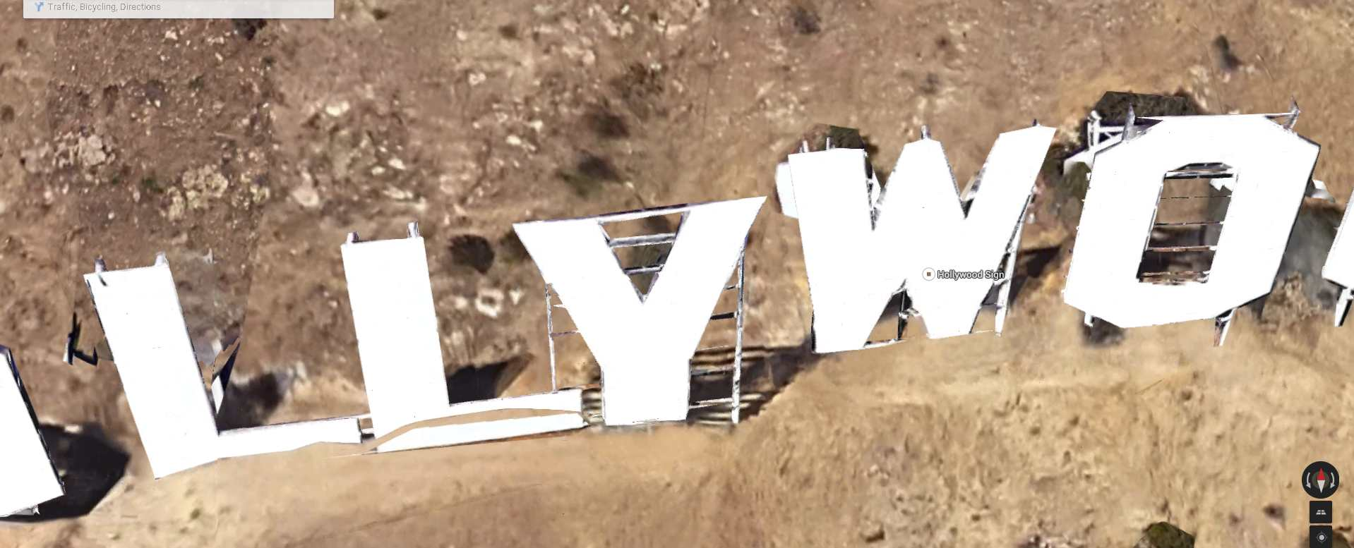 Hollywood Sign March 12 2015 Google Satellite Overhead Tilt View large
