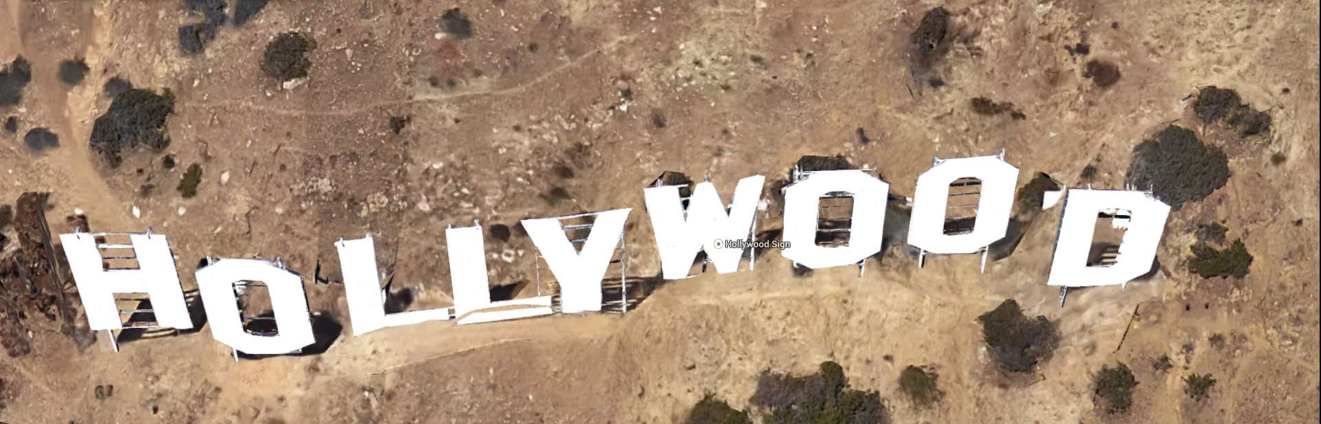 Hollywood Sign March 12 2015 Google Satellite Overhead Tilt View one click out