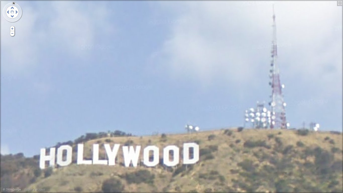 hollywood sign close up view using google maps street view