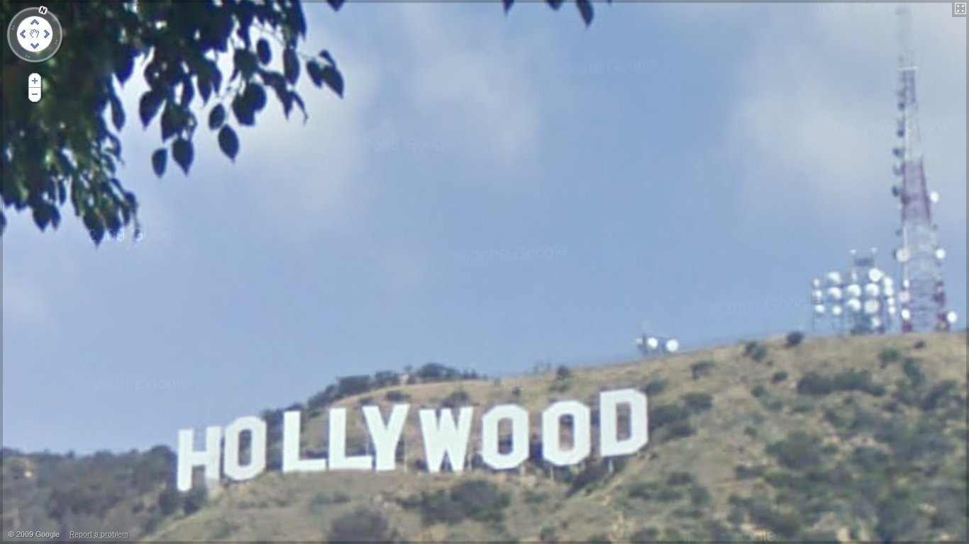 Hollywood Sign from Deronda Drive using Google Street View in 2010