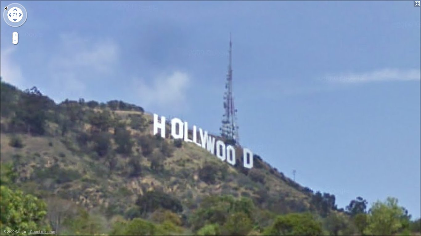 Hollywood Sign from Google Street View in 2010