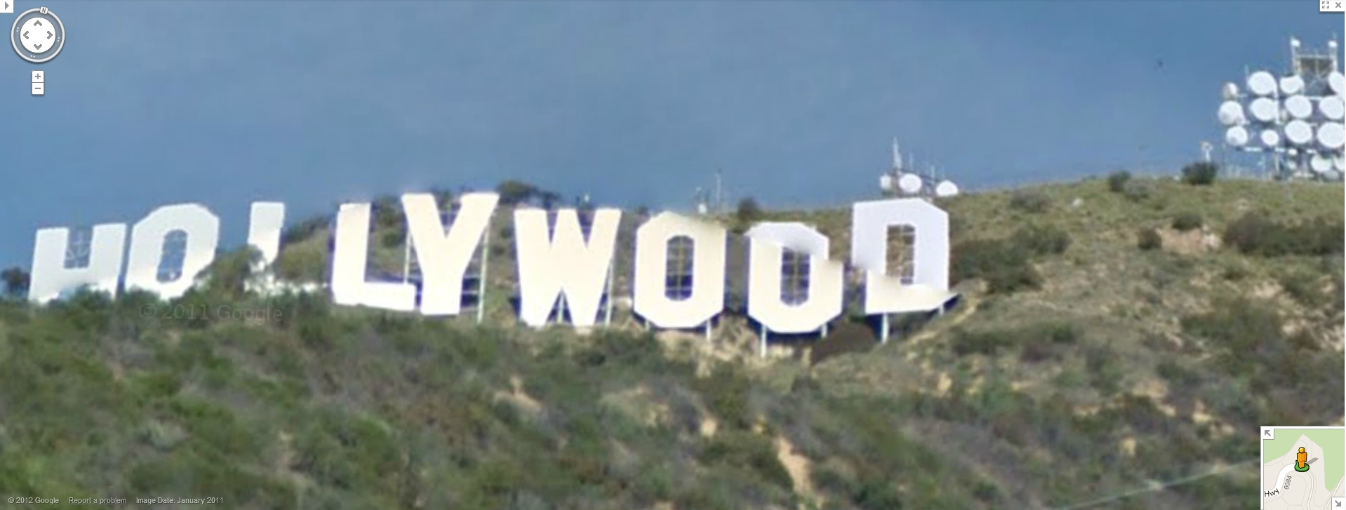 hollywood sign february 13 2012 from google maps street view