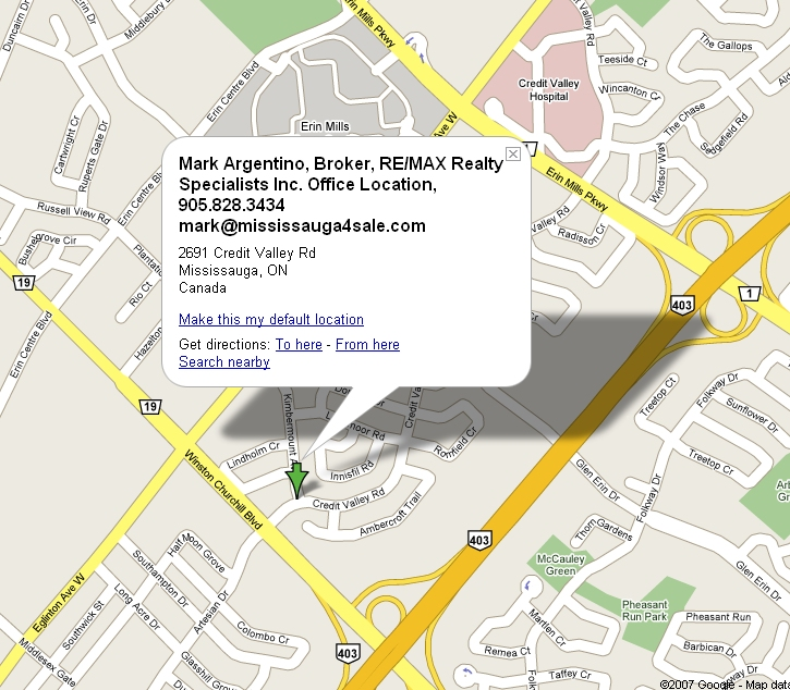 Google Map to Mark's office, click map for directions